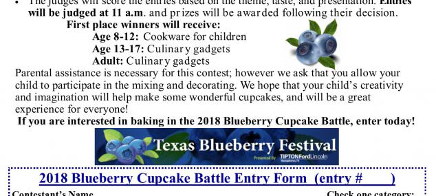 Blueberry Cupcake Battle Entry Form